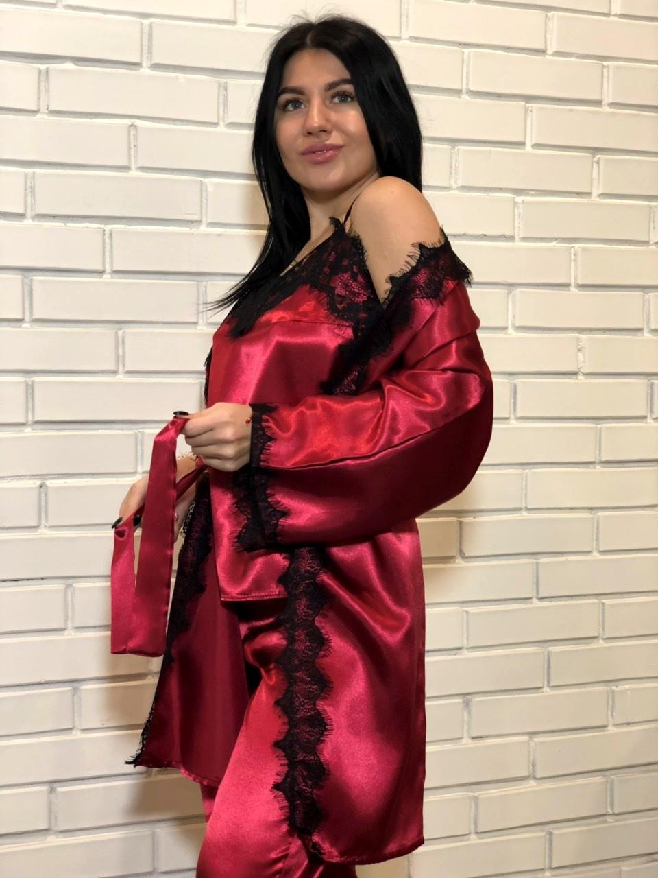 Одяг для дому,атласний комплект з халатом