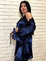 Атласный женский комплект с кружевом халат майка штаны