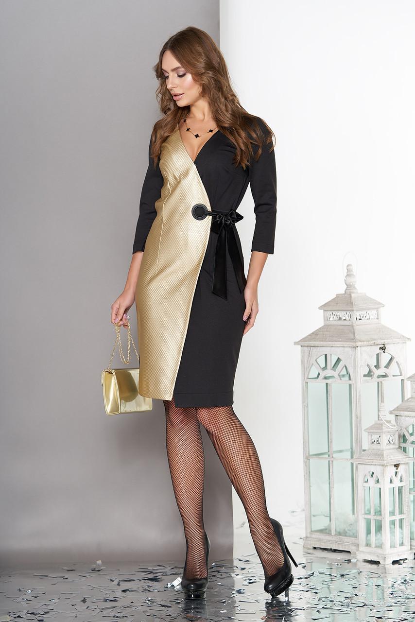 Коктейльное женское платье комбинированное
