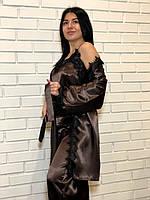 Пижама женская атласная с черным кружевом