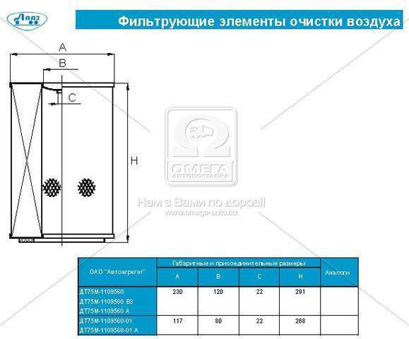 Элемент фильт. возд. ЗИЛ 5301  (пр-во г.Ливны) ДТ75М-1109560-А