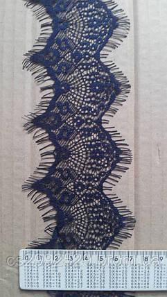 Кружево с ресничками Франция. Кружево ажурное 30 метров синий, фото 2