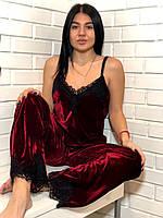 Вишневая брючная женская пижама