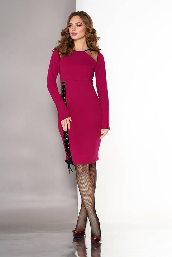 Нарядное женское платье со шнуровкой вишня, фото 2