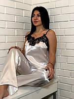 Белая женская пижама с кружевом