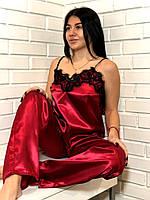 Яркая брючная пижама с черным кружевом