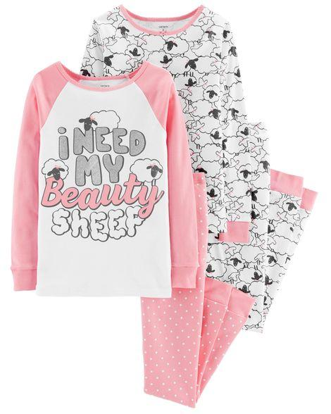Пижама Картерс Carter's для девочки 8Т( 137-142 см) белая с барашками