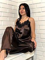 Піжама жіноча атласна майка і штани