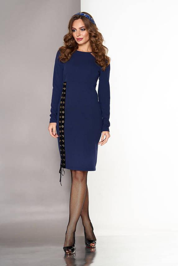 Нарядное женское платье со шнуровкой синее, фото 2