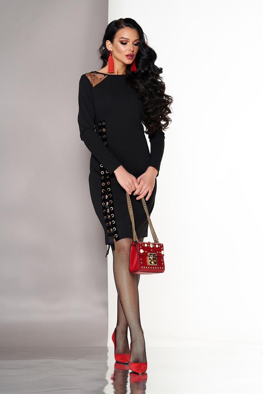 Нарядное черное платье с завышенной талией