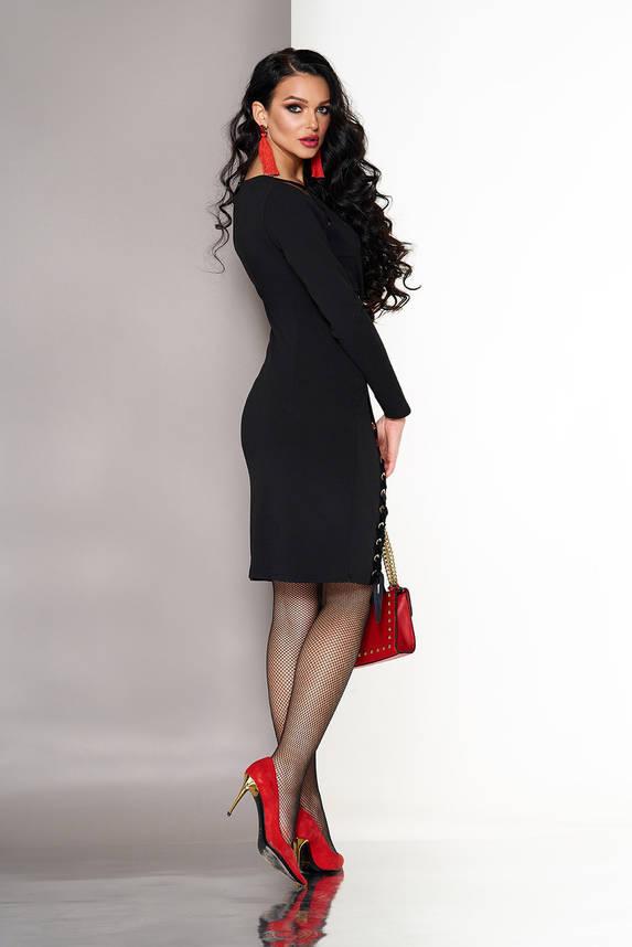 Нарядное черное платье с завышенной талией, фото 2