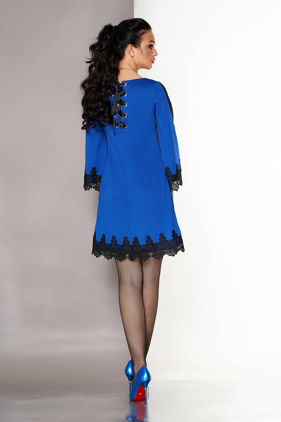 Нарядное платье трапеция короткое с кружевом электрик, фото 2