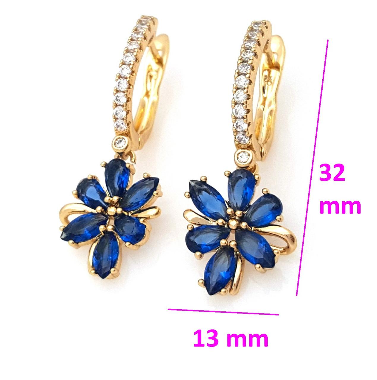 Серьги позолоченные 704746, Висюльки Цветок с синим цирконием, англ.замок, Xuping