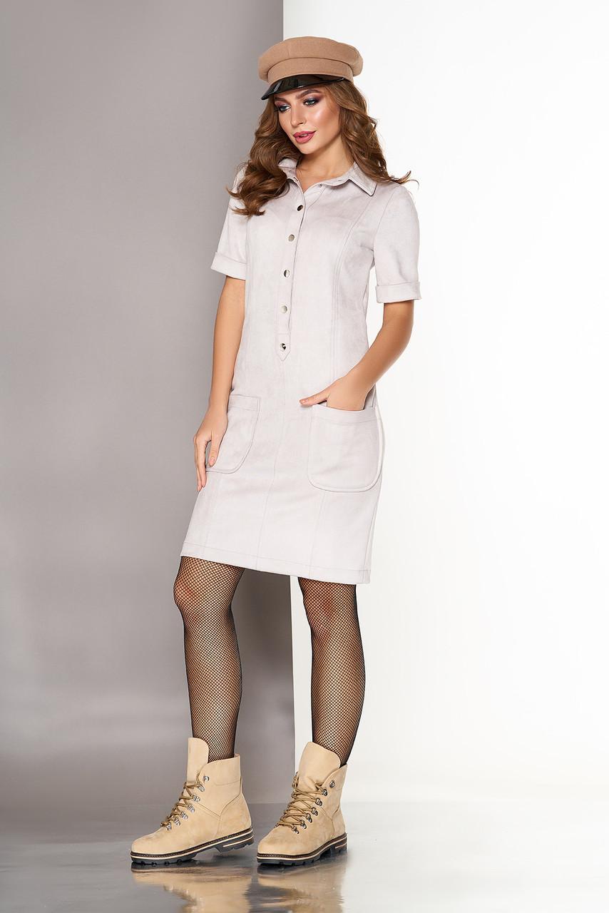 Красивое замшевое платье рубашка серое