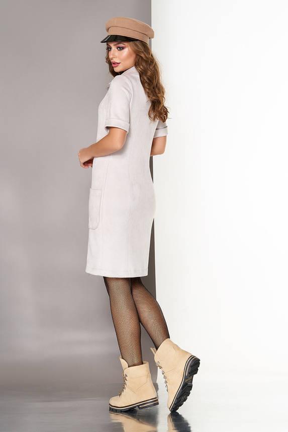 Красивое замшевое платье рубашка серое, фото 2