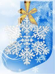 """Схема для вышивки бисером новогодний сапожок """"Снежинка"""""""
