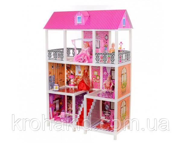 Трехэтажный кукольный домик 66885( 5 шт куклы 28 см, мебель),размер домика 94-141,5-136 см