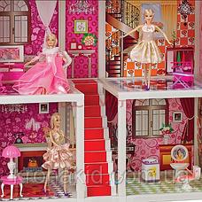 Трехэтажный кукольный домик 66885( 5 шт куклы 28 см, мебель),размер домика 94-141,5-136 см, фото 2