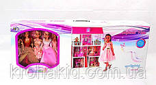 Трехэтажный кукольный домик 66885( 5 шт куклы 28 см, мебель),размер домика 94-141,5-136 см, фото 3