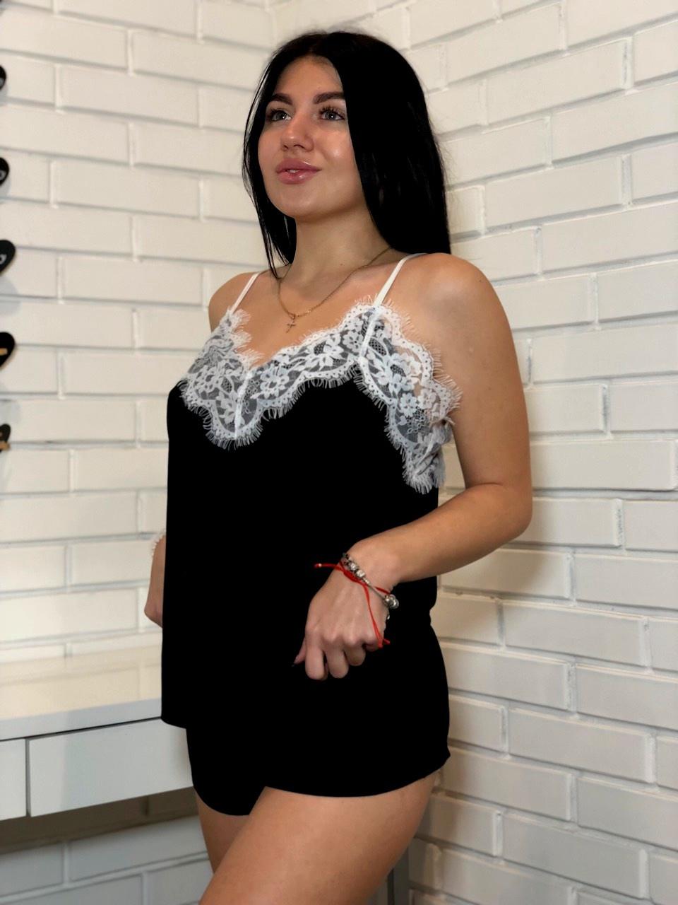 Черная пижама комплект шорты и майка с кружевом