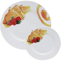 Набор тарелок для блинов Pancakes Мед, блюдо Ø27см и 6 тарелок Ø20см