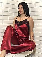 Бордовая пижама майка с кружевом и штаны 050, одежда для дома.