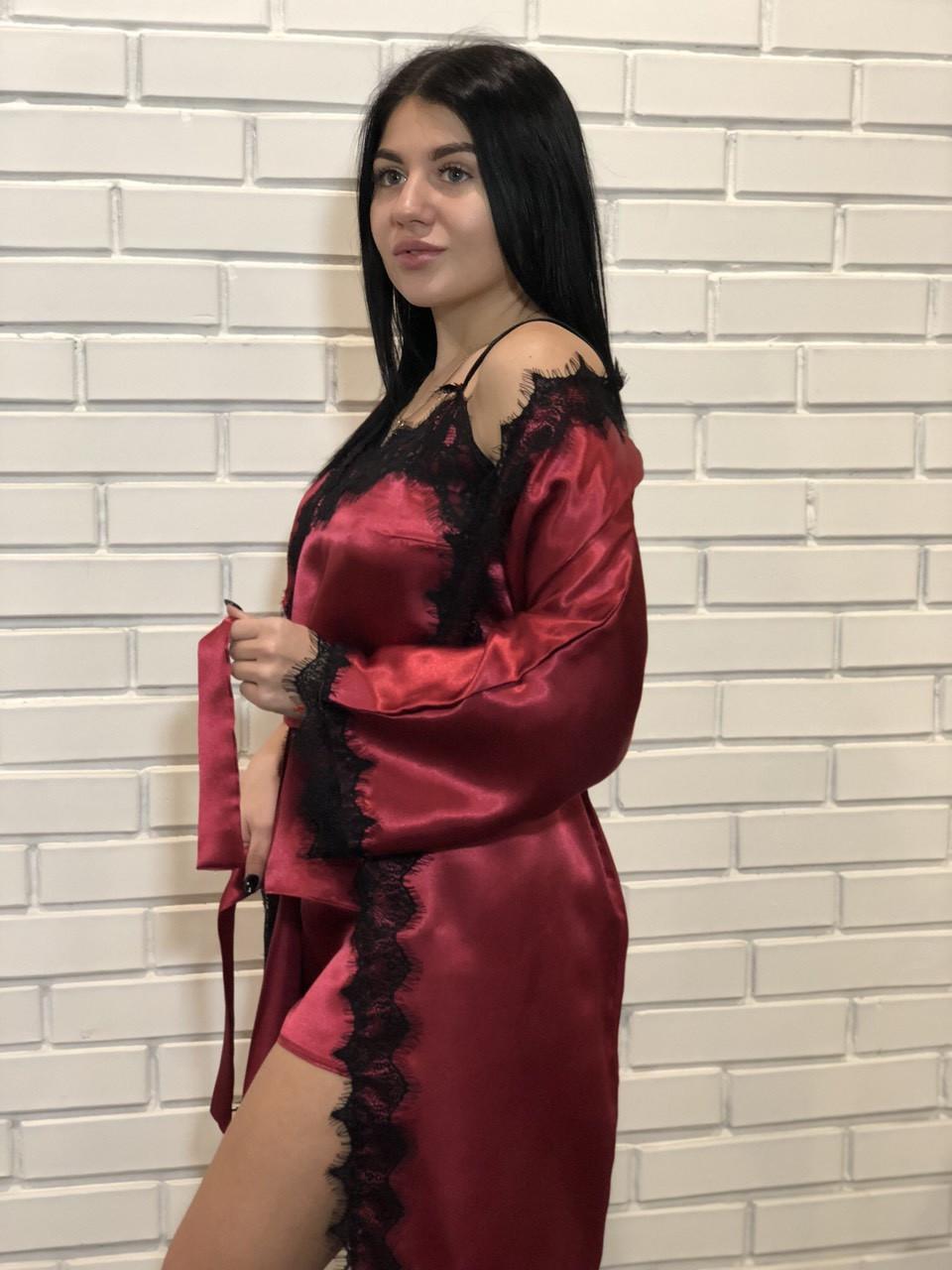 Бордовый изысканный женский комплект: халат + пижама из атласа