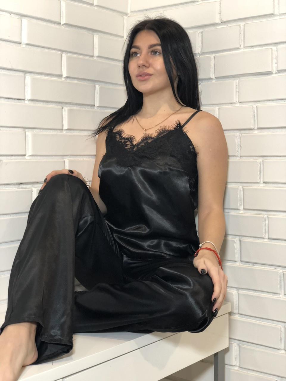 Черная атласная пижама штаны и майка, одежда ТМ Exclusive