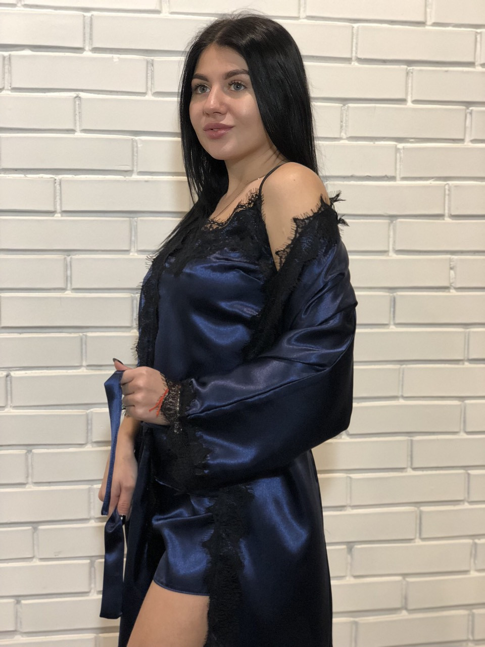 Халат+майка+шорты - атласный комплект тройка темно-синего цвета