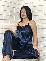 Пижама штаны и майка с кружевом 050, одежда для дома.
