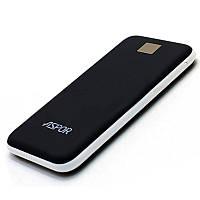 Powerbank аккумулятор Aspor A386 12000 mAh повербанк с покрытием Soft Touch, Power Bank Умб Черный