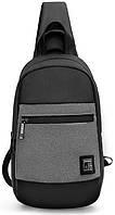 Стильный однолямочный рюкзак для бизнеса и путешествий Arctic Hunter XB00060, влагозащищённый, 5л Темно-серый