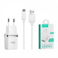 Сетевое зарядное устройство HOCO C11 с кабелем Micro USB белый 1А
