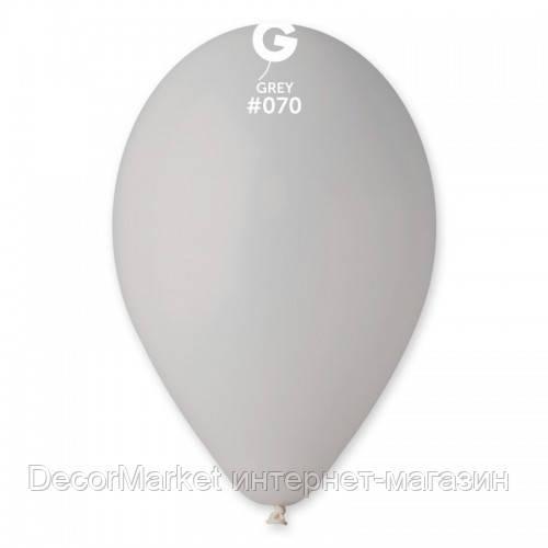 Шарик воздушный 10 дюймов (25 см) пастель СЕРЫЙ