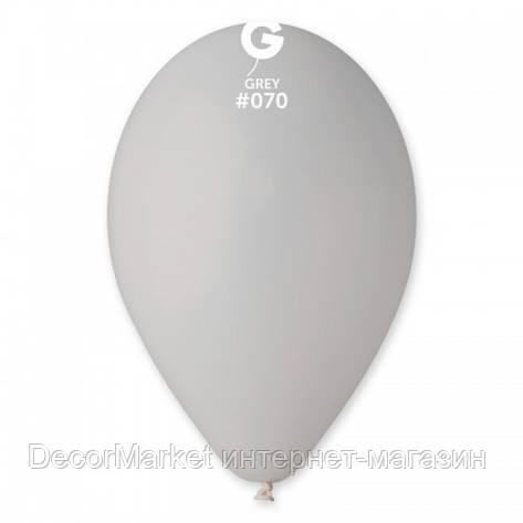 Шарик воздушный 10 дюймов (25 см) пастель СЕРЫЙ, фото 2