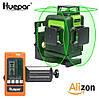 Лазерный уровень Huepar 3D Green HP-903CG с приёмником и зелёными лучами