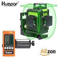 Лазерный уровень Huepar 3D Green с приёмником и зелёными лучами , фото 1