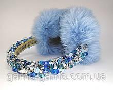 Зимние Меховые наушники Голубые с хрустальными бусинами Корона  стиль Дольче  Габбана