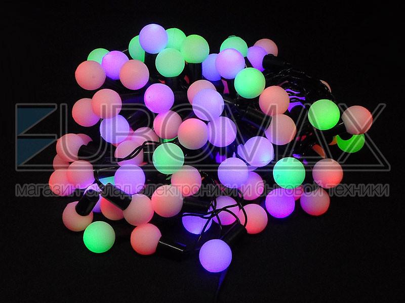 Гирлянда 100LED Штора уличная черный провод белый шарик (микс) 100-BALL-SHORT-CURTAIN-M