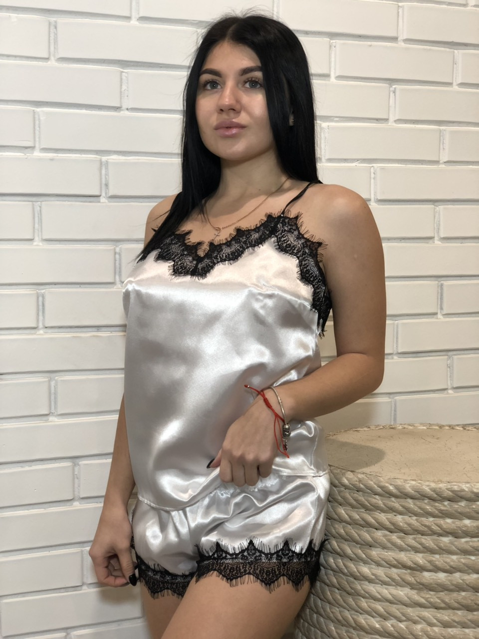 Белая пижама с черный кружевом ТМ Exclusive, пижамный комплект.
