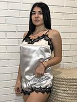 Белая пижама с черный кружевом ТМ Exclusive, пижамный комплект., фото 1