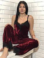 Бордовая велюровая пижама штаны и майка с кружевом на 44-46.