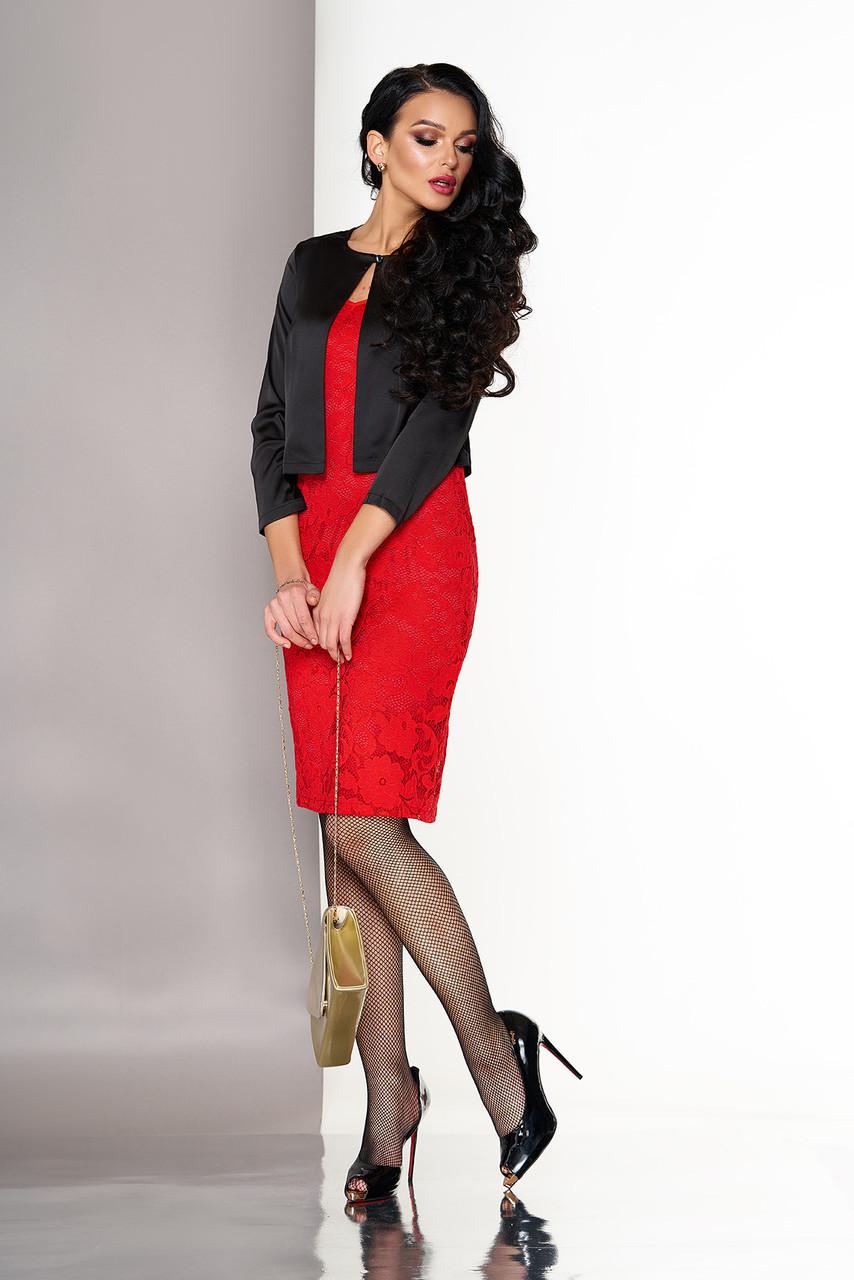 Красное платье двойка гипюровое с болеро