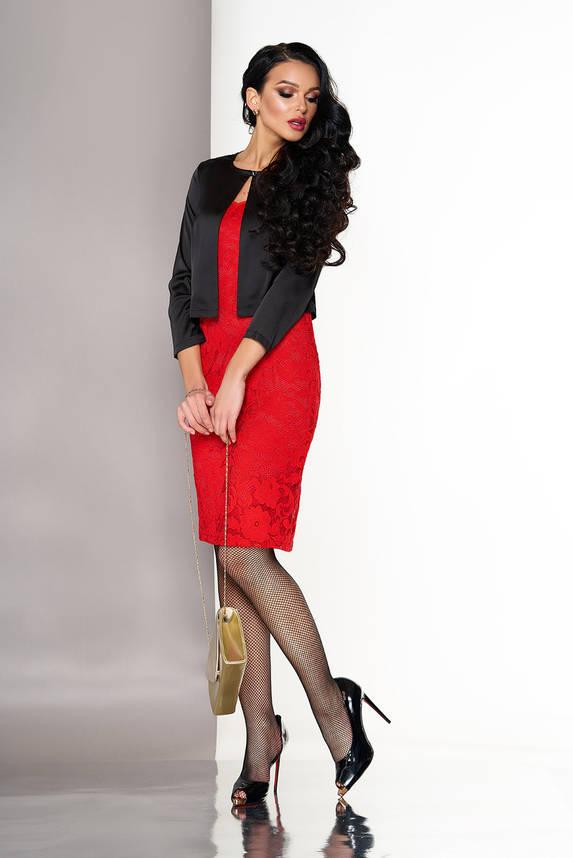 Красное платье двойка гипюровое с болеро, фото 2