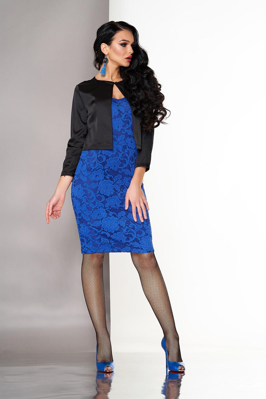 Платье двойка из гипюра с болеро ярко-синее