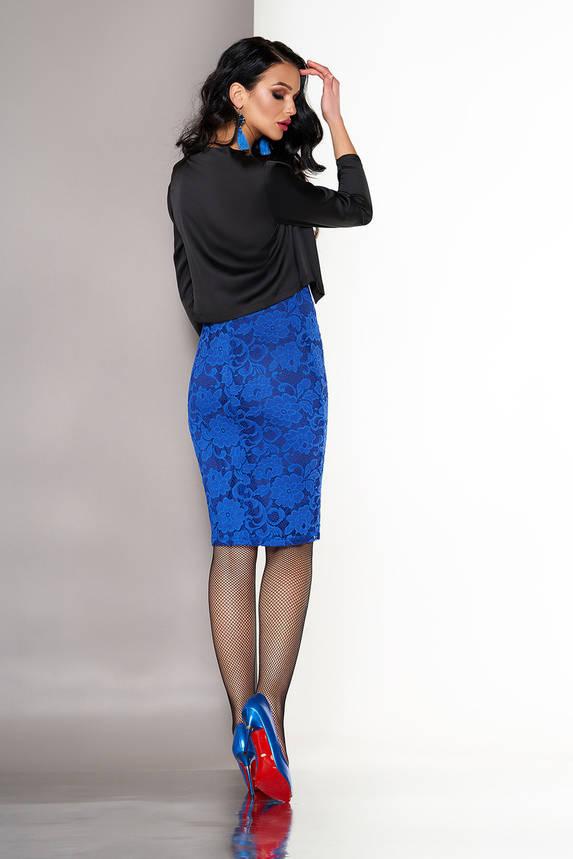 Платье двойка из гипюра с болеро ярко-синее, фото 2