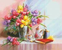 Натюрморт с цветами Набор для вышивания крестиком с печатью на ткани 14ст