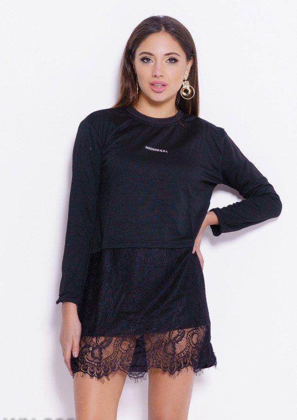 dca14943f1e5 Черное Трикотажное Платье с Принтом и Кружевом (есть Размеры) — в ...