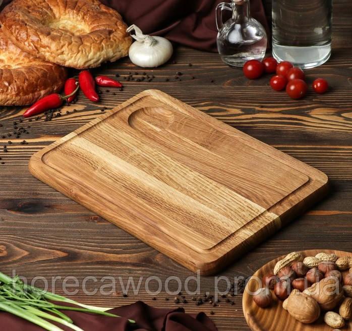 Кухонная доска для подачи с соусником 35х25 см