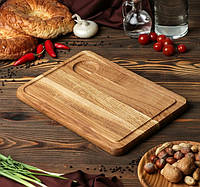 Кухонная доска для подачи с соусником 35х25 см, фото 1